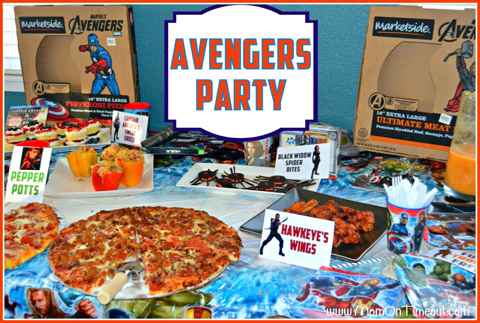 American Themed Dinner Party Ideas Part - 31: Black Widow Spider Bites, Pepper Pottu0027s Stuffed Peppers, Captain America  Shield Cakes, Hawkeyeu0027s