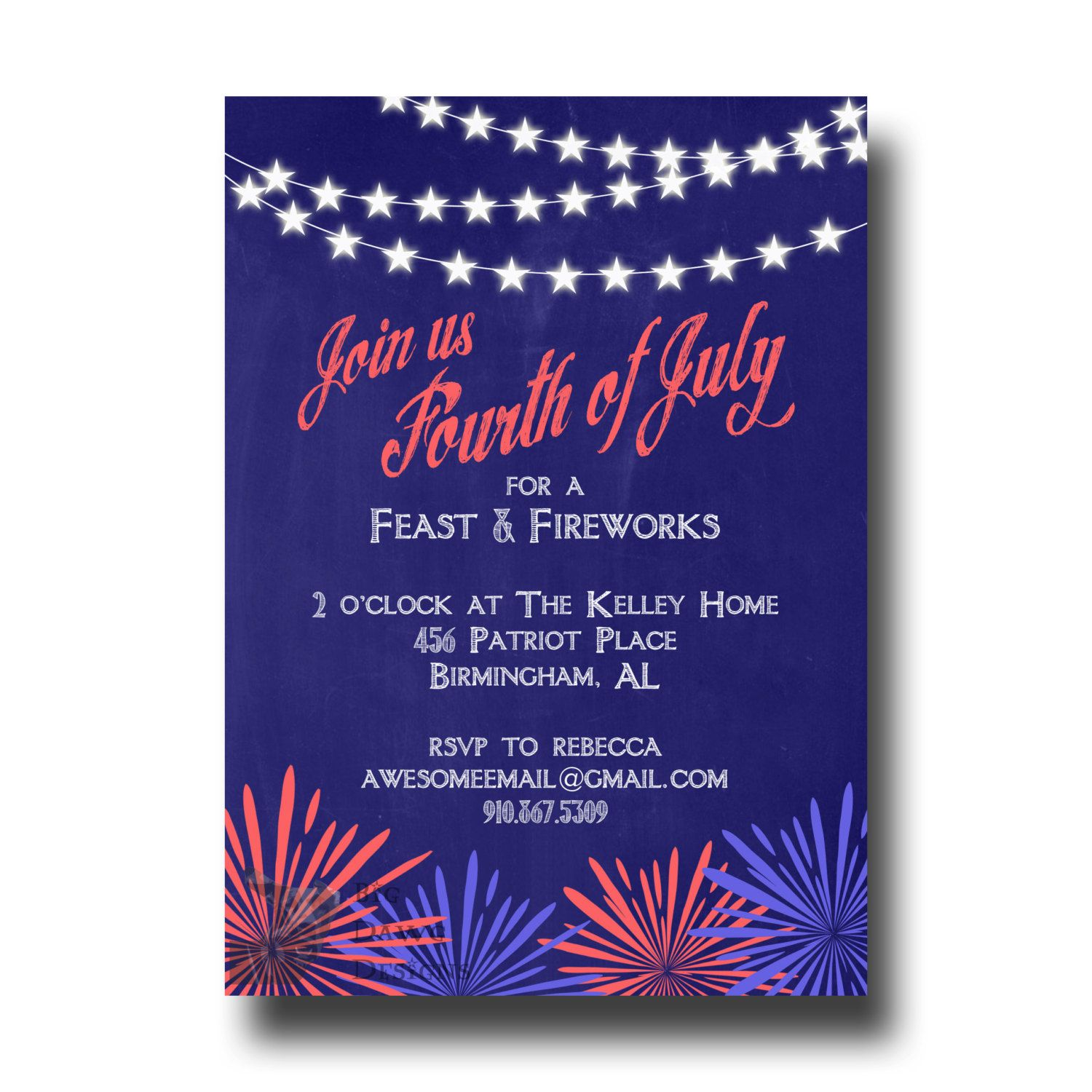 Fourth Of July Invite Memorial Day Invitation Th Of July Party
