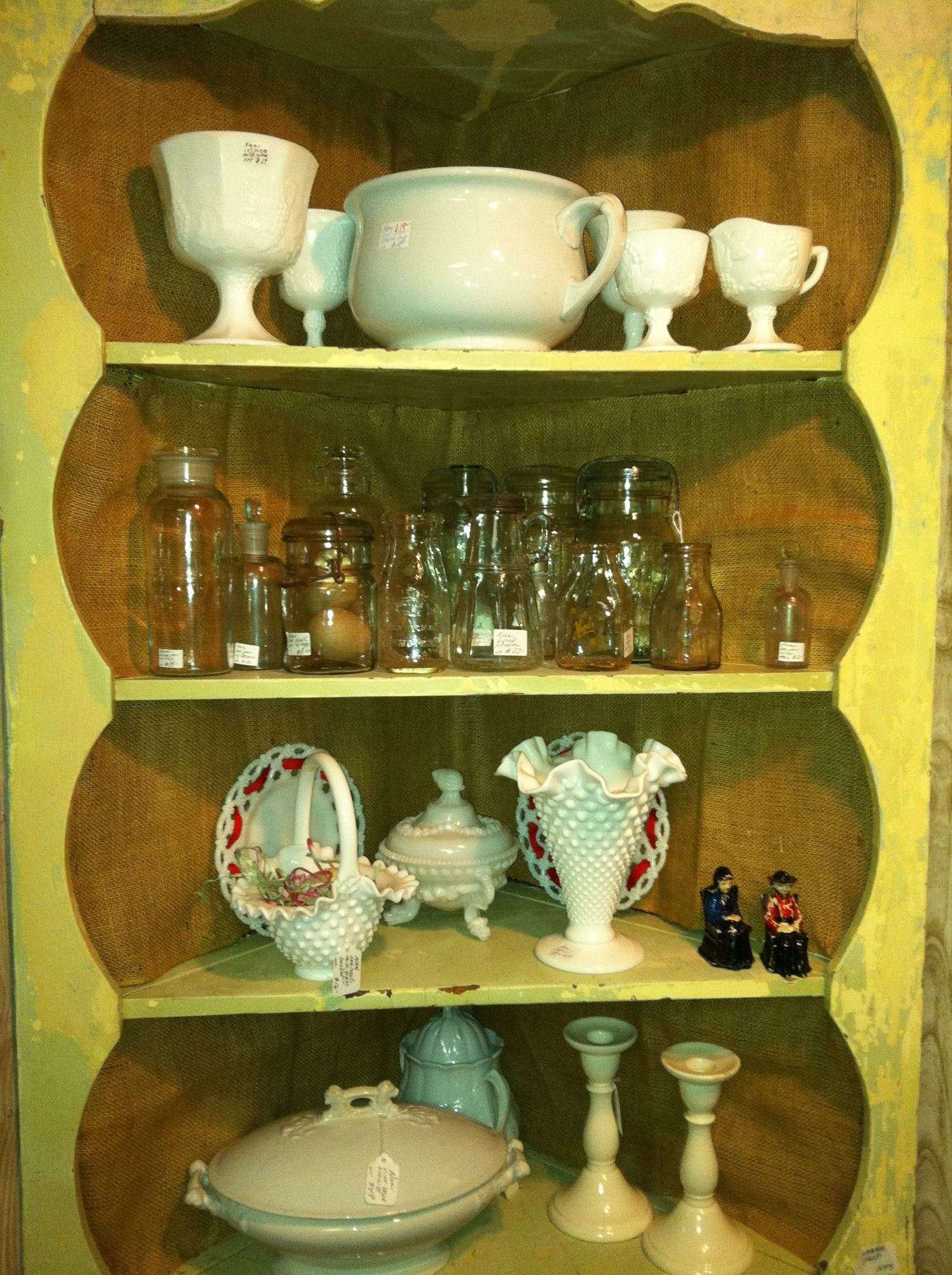 mason jars, milk glass, ironstone...just a taste of what we have in our shop