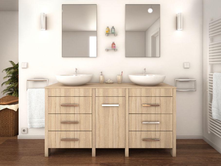 Ensemble de salle de bain CINDY pas cher avec double vasque et