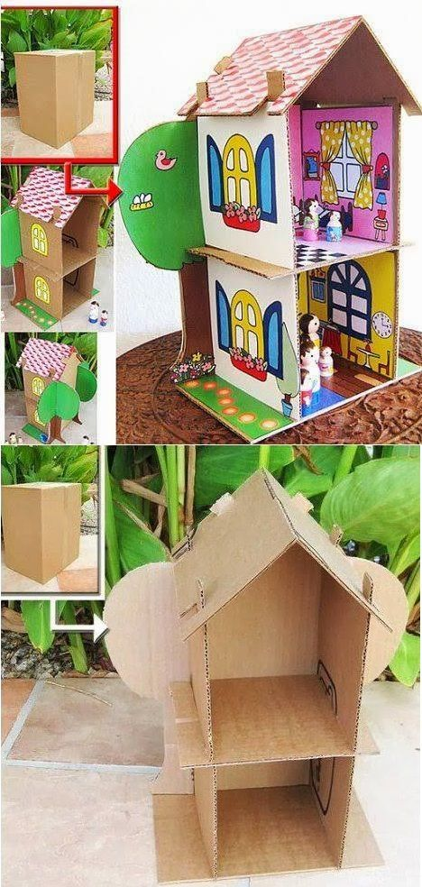 Make a cute little cool house using a cardboard box