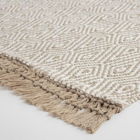 $299 8x10 - $149 5x 8 Beige and Ivory Woven Diamond Indoor Outdoor Rug | World Market #outdoorrugs