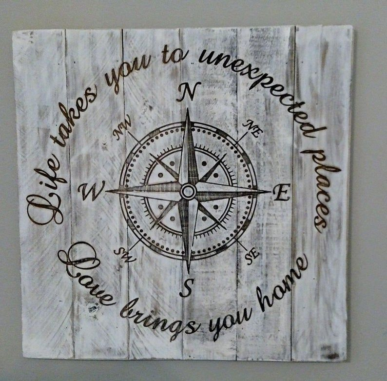 Photo of Distressed Hardwood Compass Sign, Life takes you to unexpected places-love brings you home. White