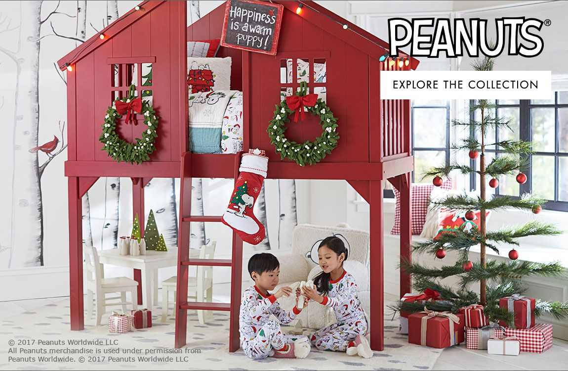 Peanuts christmas bedding pottery barn kids bed gifts