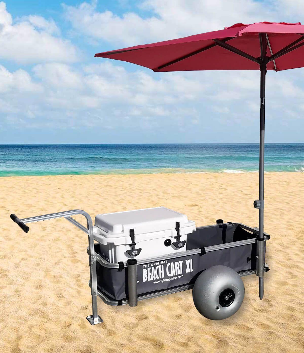 Beach Cart XL Beach Cart with Balloon Wheels, Chair