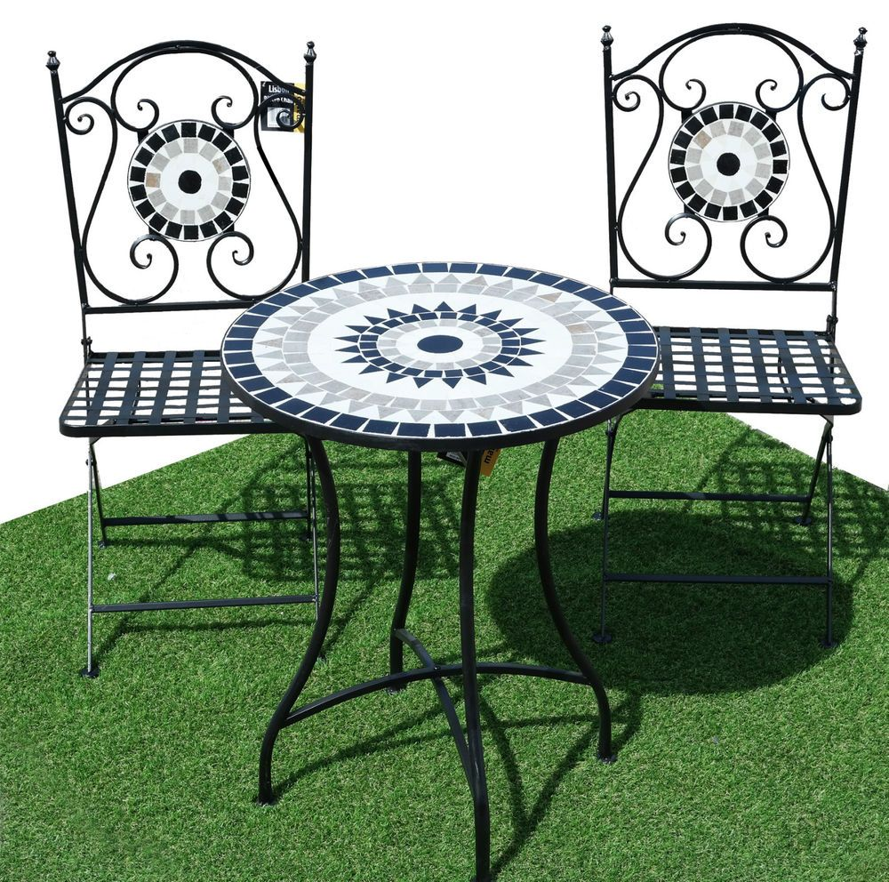 3pc Lisbon Costa Mosaic Bistro Set Outdoor Garden Furniture Patio Table Chairs In
