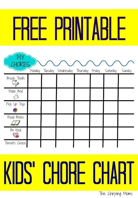 Printable Chore Chart For Kids  Printable Chore Chart Chore