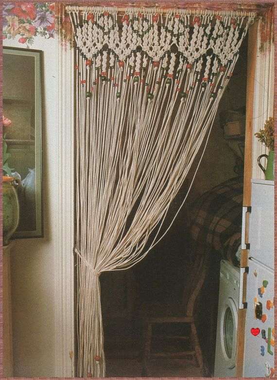 Vintage Macrame Pattern 1970s To Make A Decorative Room Curtain Or
