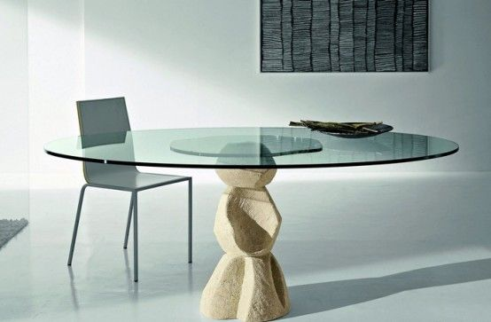 Rustic Granite Table Bases | Modern Dining Table With Stone Base U2013 Vicenza  Shapes From Diotti · Glass Top ...