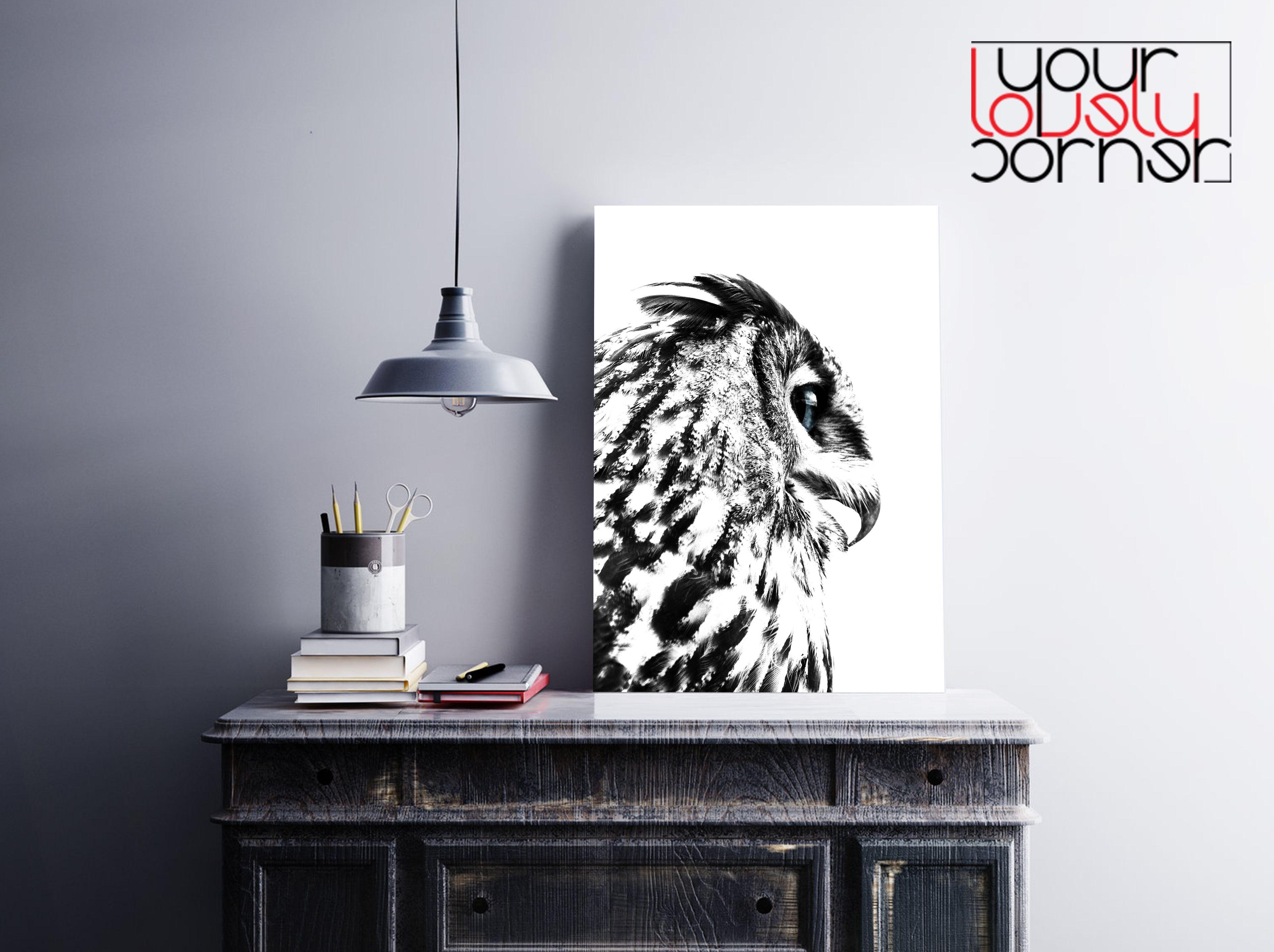Owl art print, Owl photography, Black and white owl, Owl poster, Owl ...