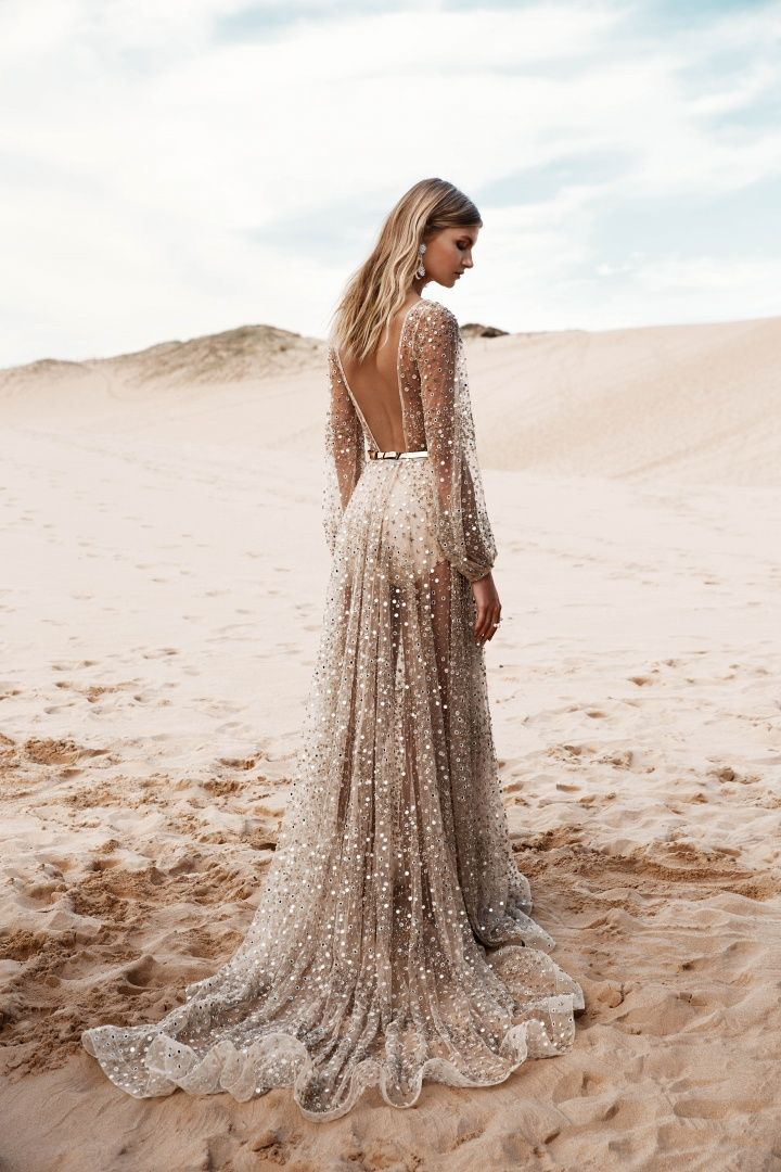 Mirrored and embellished gold tulle gives this statement bridal gown ...