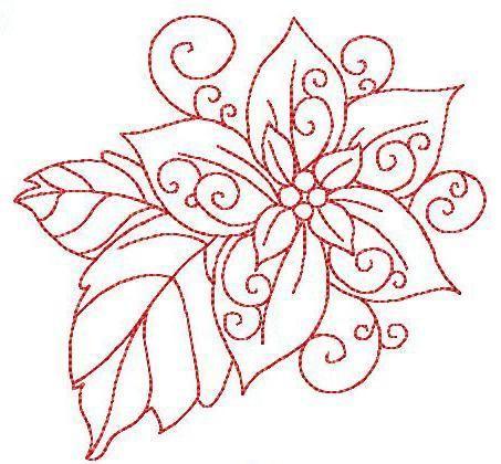 Christmas Poinsettia Embroidery 3 Sizes Christmas Poinsettia