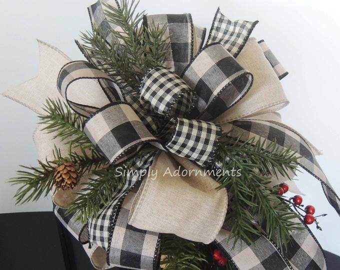 Photo of Rustic Farmhouse Christmas Wreath Bows Rustic Farmhouse Black whi
