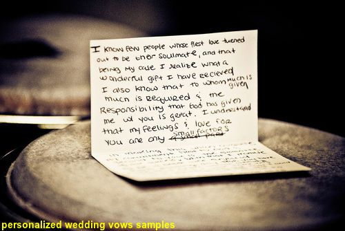 Personalized Wedding Vows Samples - If write is no strong point, but ...