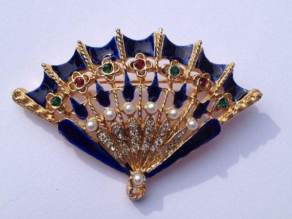 Vintage Fan Shaped Brooch Pin Signed Art With Rhinestones Enamel Faux Pearls Fan Jewelry Brooch Unusual Jewelry