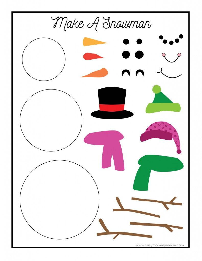 Printable Snowman Craft On Busymommymedia Com Snowman Crafts Preschool Printable Snowman Faces Snowman Crafts
