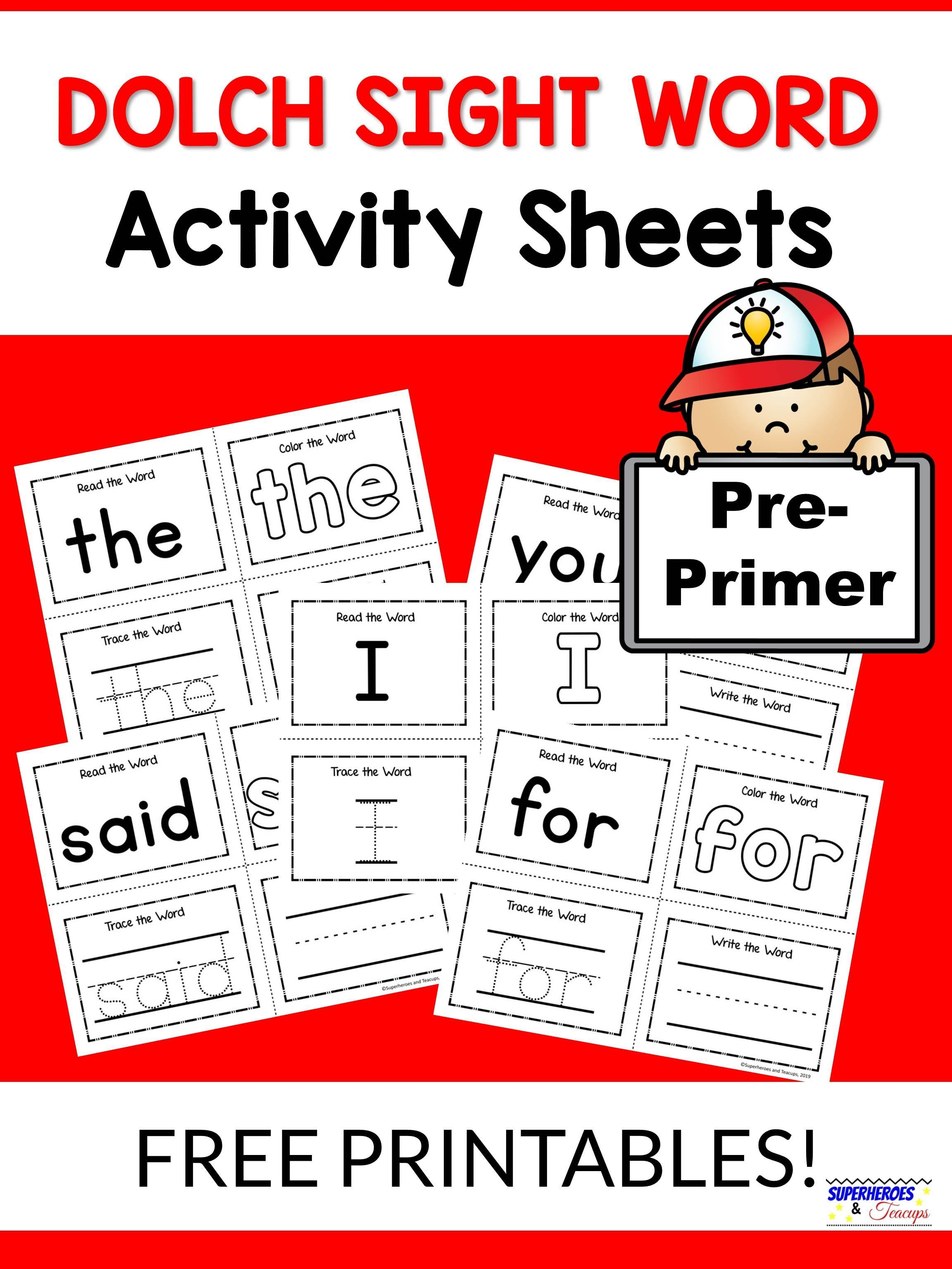Pre Primer Dolch Sight Word Activity Sheets In With