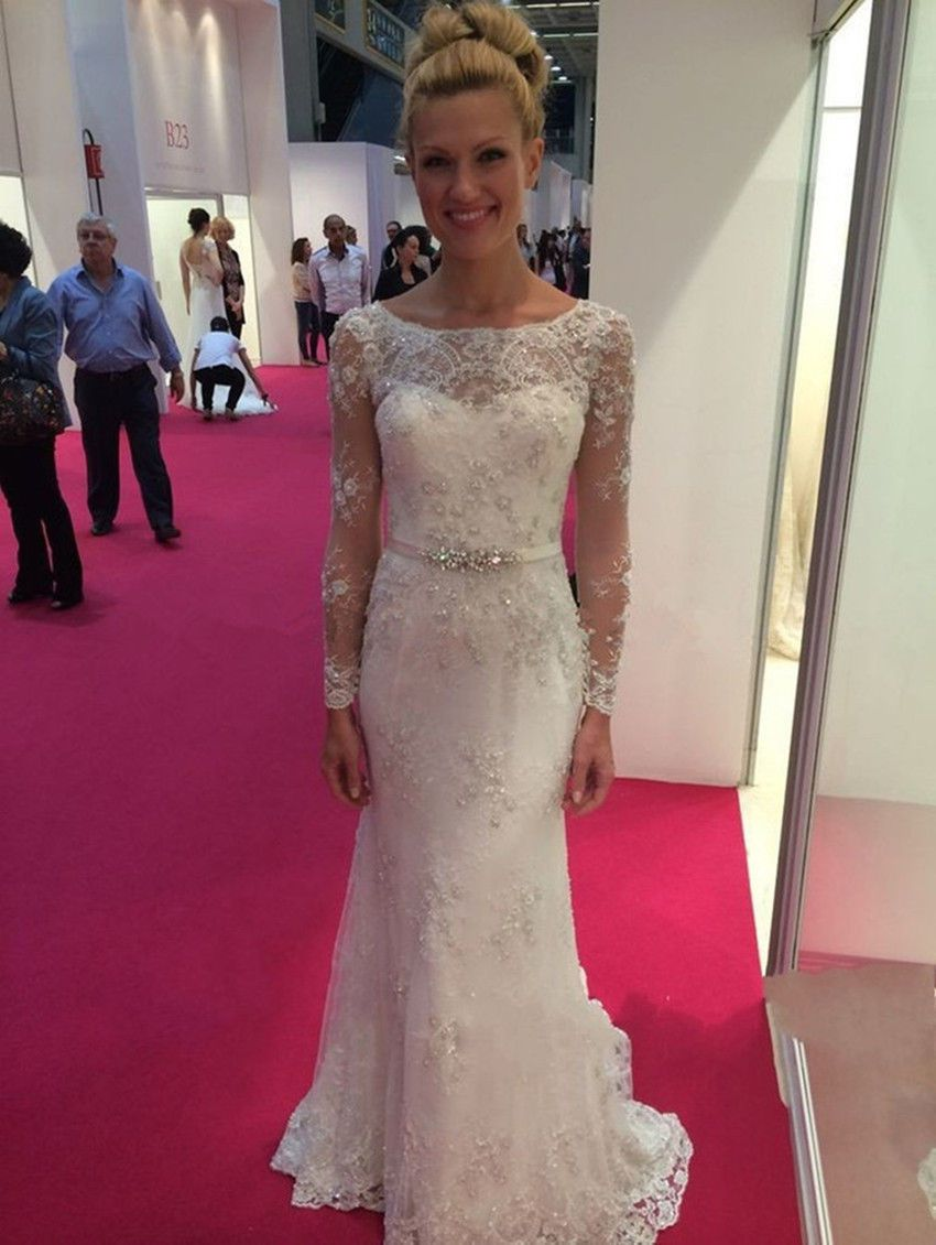 Awesome awesome beaded belt lace long sleeve wedding dress pageant