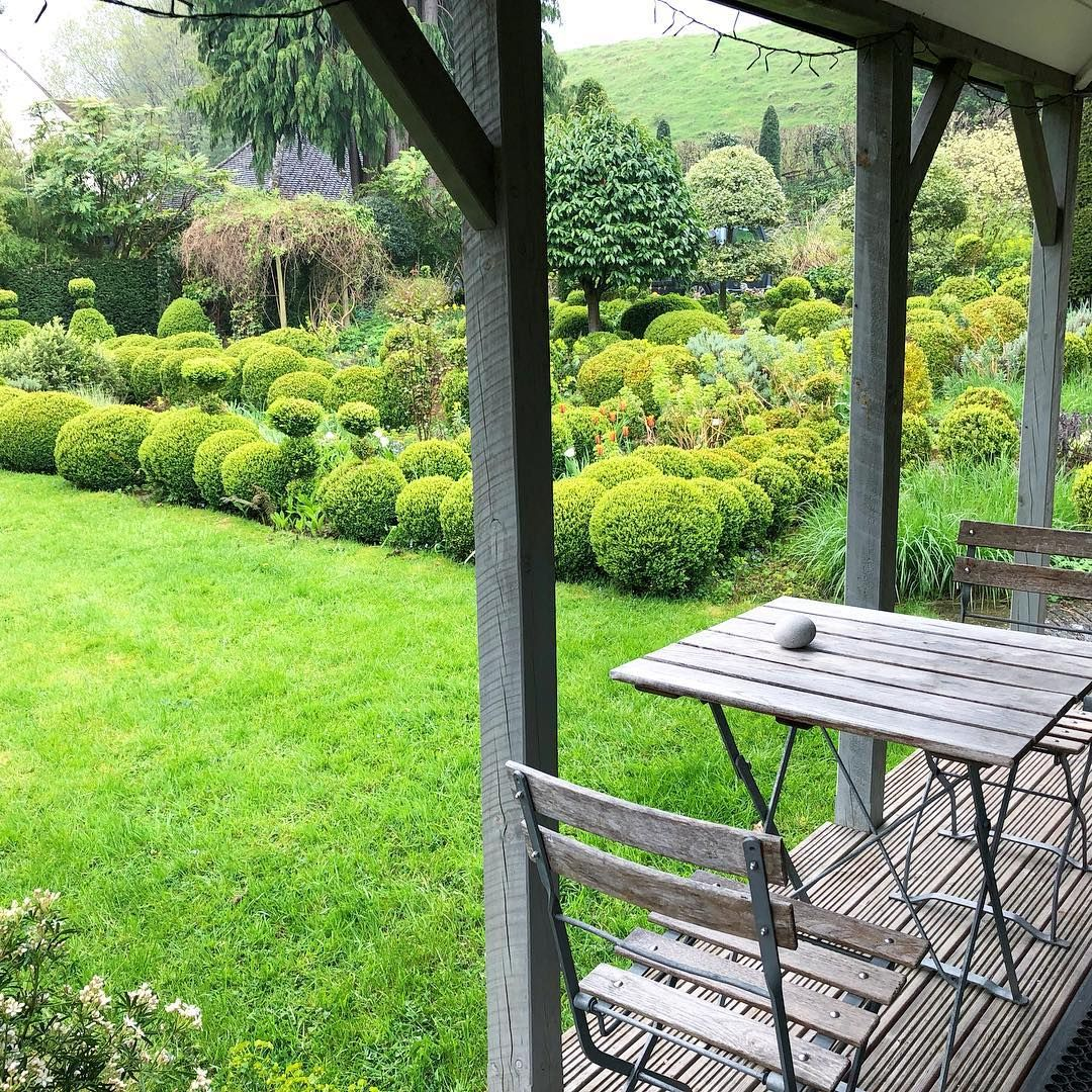 Plas Bach, Hay on Wye, Herefordshire. The veranda of Plas Bach, our eco cabin holiday let ...