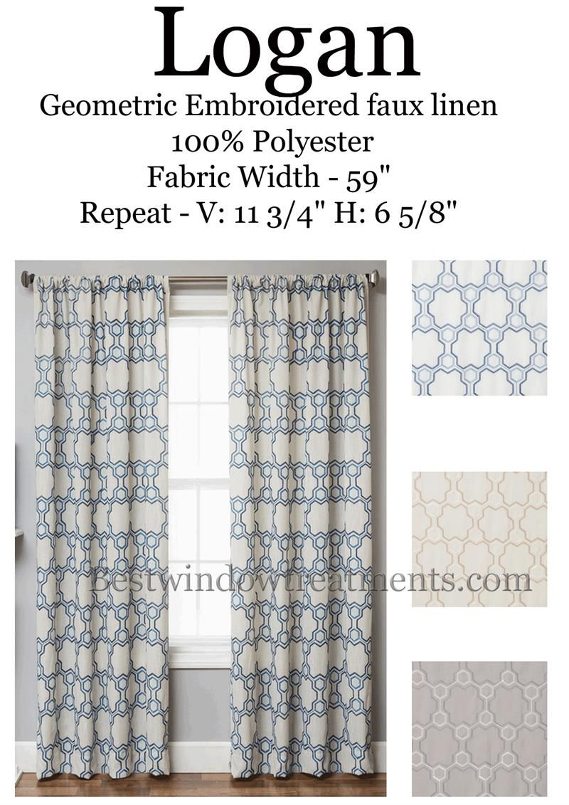 Moroccan tile pattern curtains - Logan Linen Style Curtains With Unique Moroccan Tile Embroidery And Classic Geometric Pattern Choose From Champagne To Grey Or Navy Blue Two Tone White