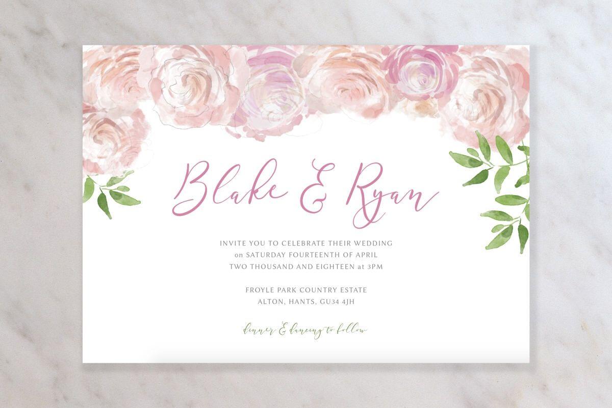 Personalised Floral Wedding Invitation Stationery Set Blush Pink