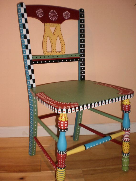 Whimsical painted chair  I really should do this with a chair I have to go in my craft room  is part of Funky painted furniture -