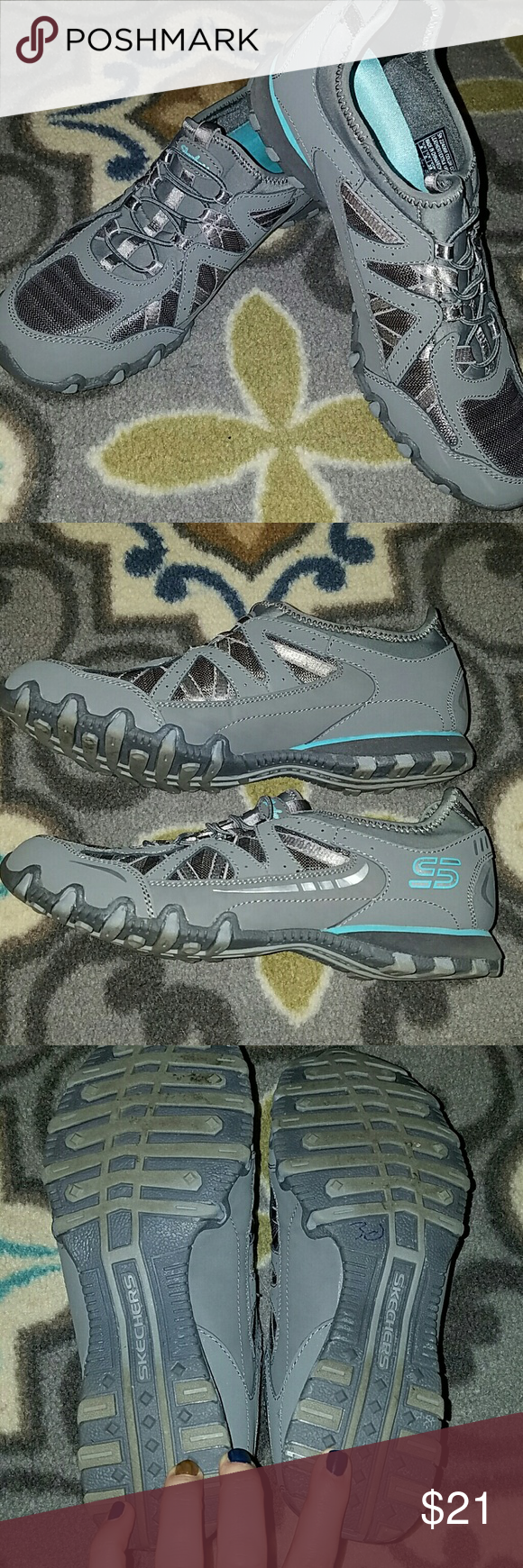 Grey Skechers Great little walking shoes for running errands. Super comfy. Only selling because I have too many similar pairs. Excellent condition! Skechers Shoes Athletic Shoes