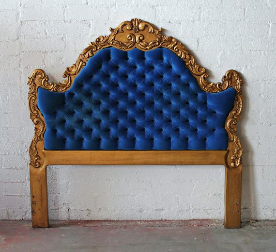 best service dd7c7 697a3 Exquisite Hollywood Regency Deco Royal Blue and Gold Tufted ...
