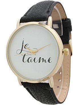 "French ""Je t'aime"" Phrase Watch - Black ❤ Olivia Pratt"