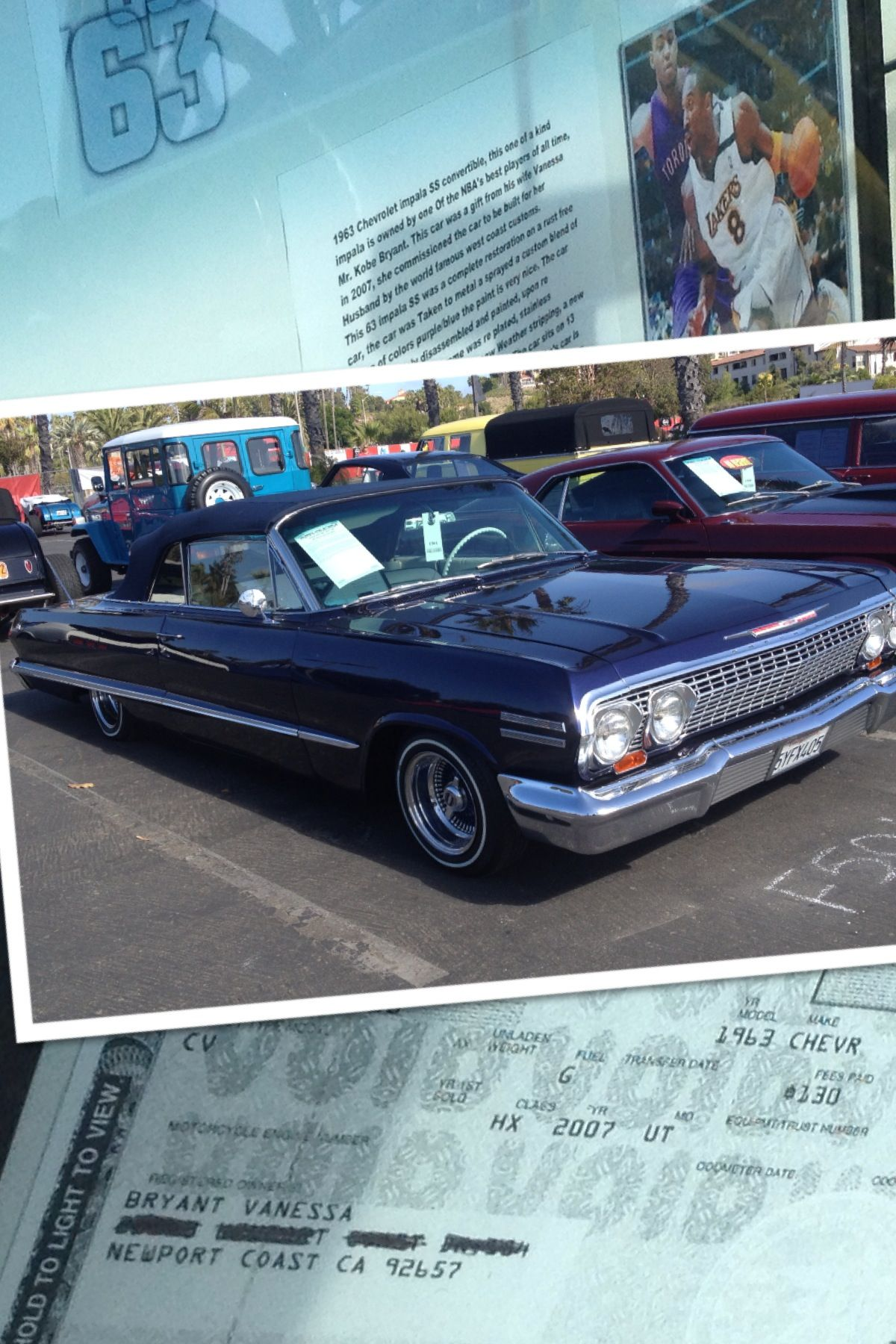 Kobe Bryant it was a t to him by his wife 1963 Impala