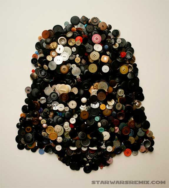 Darth Vader made of buttons.