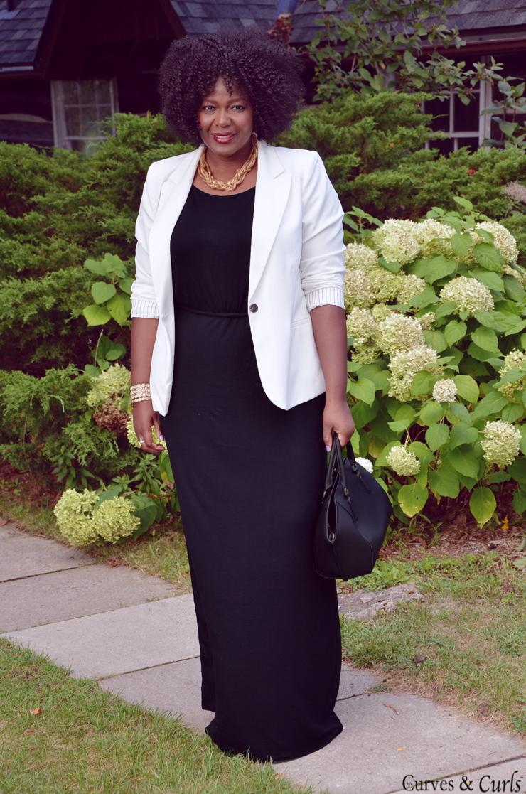White blazer + Black Maxi Dress | Fashion, Plus size fashion ...