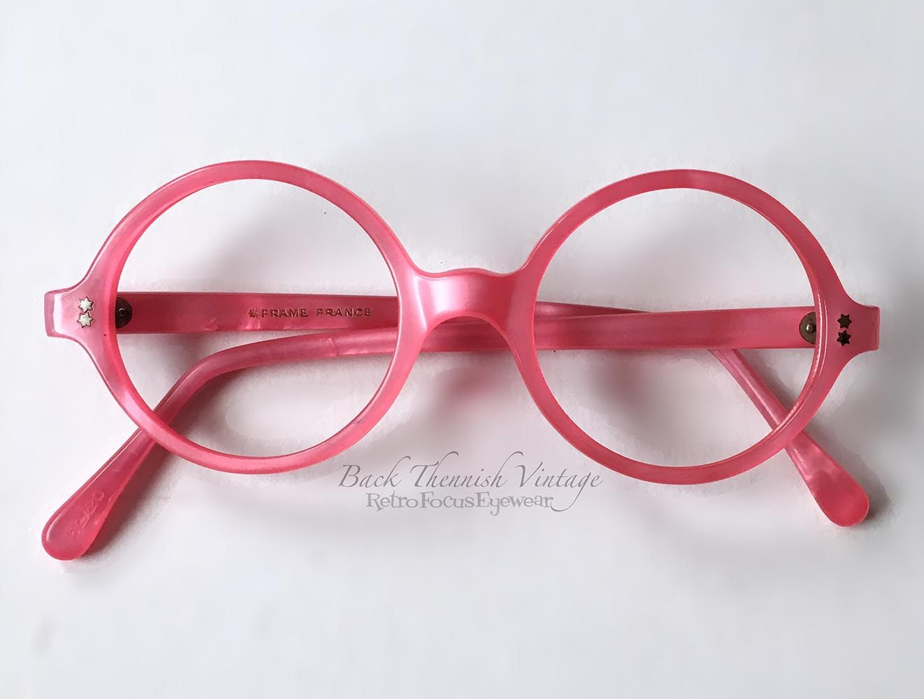 1960s french round eyeglass frames in hot pink pearlized frame perfect for the average width