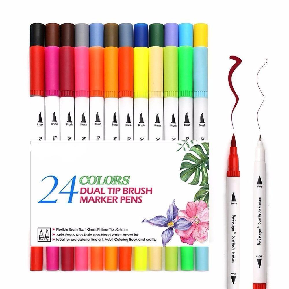 Double Sided Fine Liner And Brush Pen Set Of 24 Brush Pen