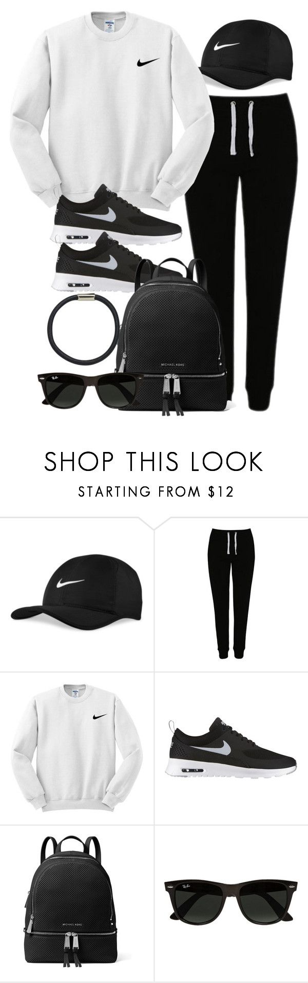 """""""Sin título #12072"""" by vany-alvarado ❤ liked on Polyvore featuring NIKE, George, MICHAEL Michael Kors, Ray-Ban and Hershesons"""