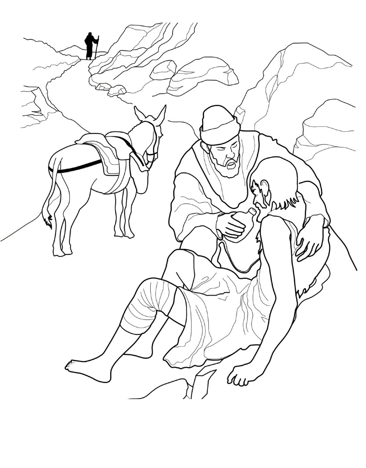 A Coloring Page For Children Of The Good Samaritan From