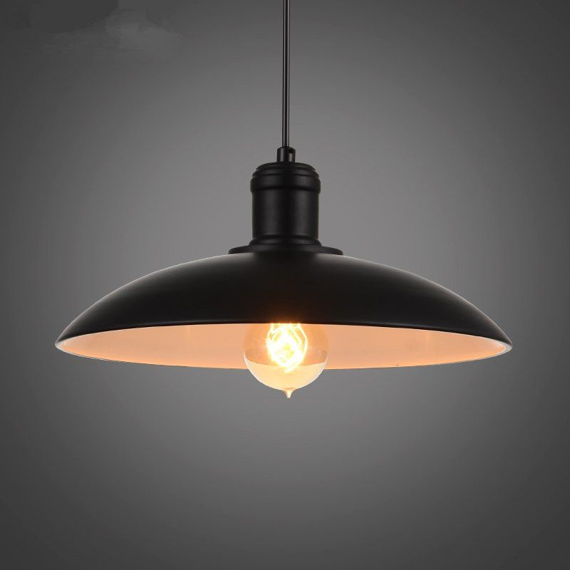 Vintage Wrought Iron Lid Pendant Lights Black White Industrial Ceiling Pendant Lamps Lof Industrial Ceiling Pendant Pendant Ceiling Lamp Retro Lighting Fixture