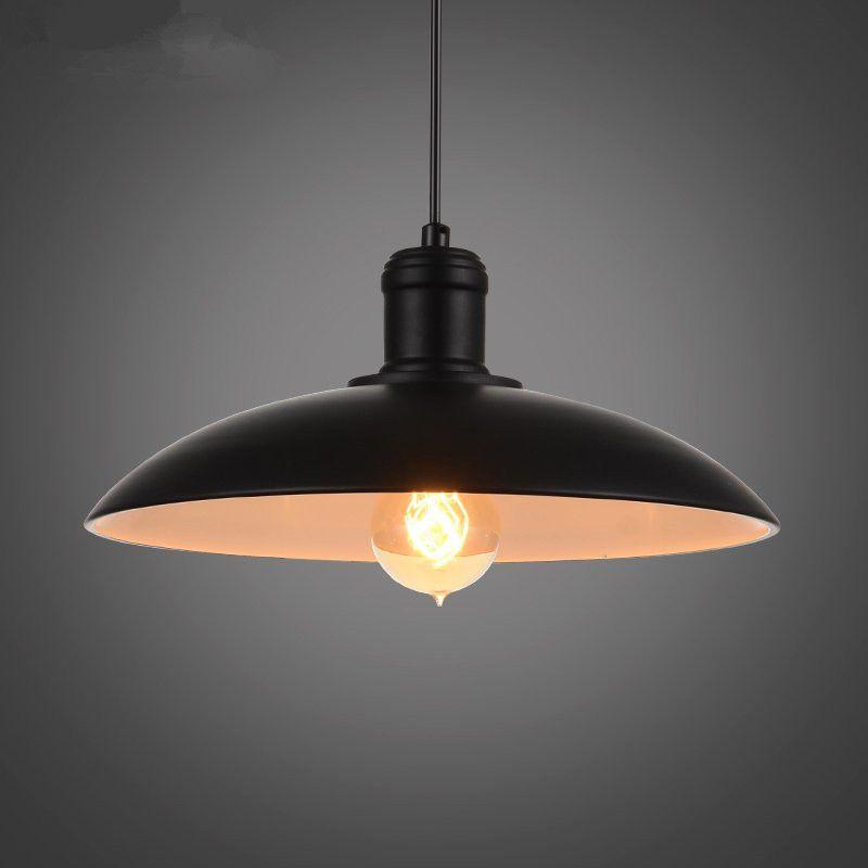 Vintage Wrought Iron Lid Pendant Lights Black White Industrial