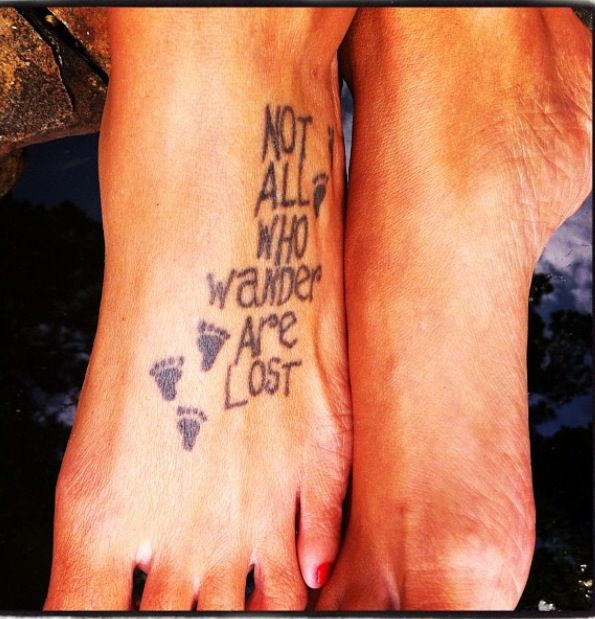 Not All Those Who Wander Are Lost Tattoo Foot Pin By Amy Bourgeois On Jesus Loves Me Foot Tattoo Tattoos I Tattoo