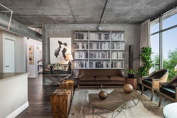 loft-appartement mit holz-und betonelementen-Beispiel des modernen - wohnzimmer design beispiele