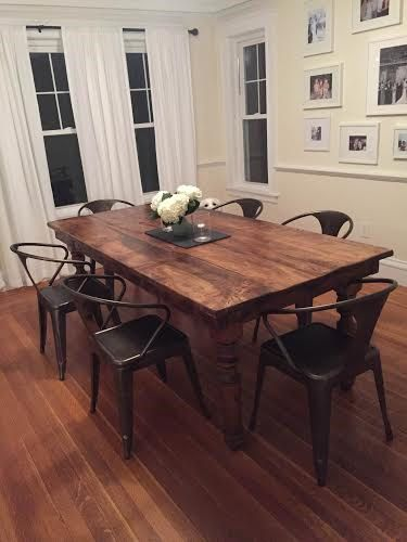 Kitchen Or Dining Room Farmhouse Table Made Using Reclaimed Barn Wood Rough Cut And Thick Sy Osborne Legs Tables Are