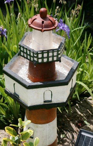 small solar powered water feature belle tout lighthouse two tier waterfall pc122 - Solar Powered Fountain