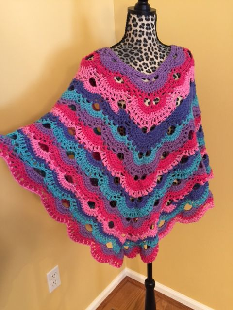 Scalloped Shell Poncho Made With Caron Cakes Yarn In Mixed Berry