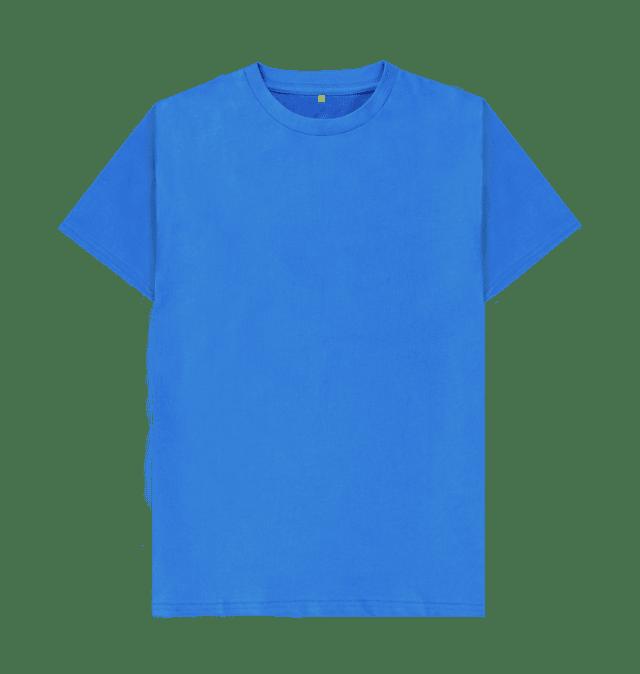 Bright Blue Plain Organic T Shirt Gaya Kasual Pakaian Pria Baju Atasan Wanita