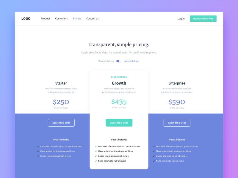 Transparent Simple Pricing Web Design Pricing Web Design Web Design User Interface