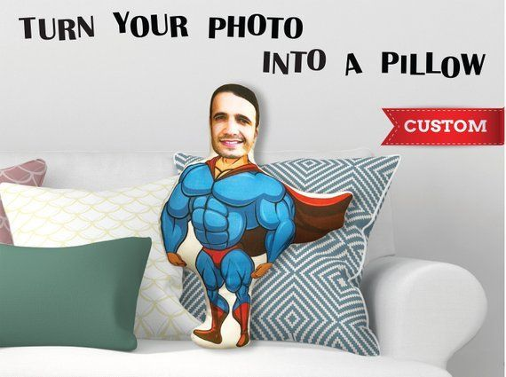 Custom Superman Pillow Fathers Day Groomsmen Gift For Men Grandfather Brother Boyfriend Gift Person