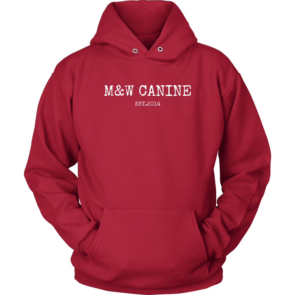 Established in 2014, M&W Canine began as a local dog training and walking service located just outside of Boston, Massachusetts. We are a real family owned business that feels the impact of your support and genuinely share your passion for dogs. Show your support and grab this simple hoodie today! 50/50 cotton/poly fleece Pill-Resistant Finish Front Pouch Pocket Unisex Fit Made To Order Share this on social media by clicking on the icon's below!