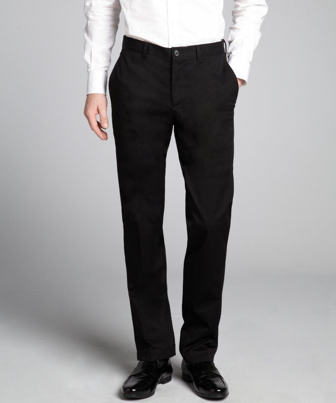 Black Stretch Cotton Flat Front and Cuffed Pants #Belt #Men #PantsShorts