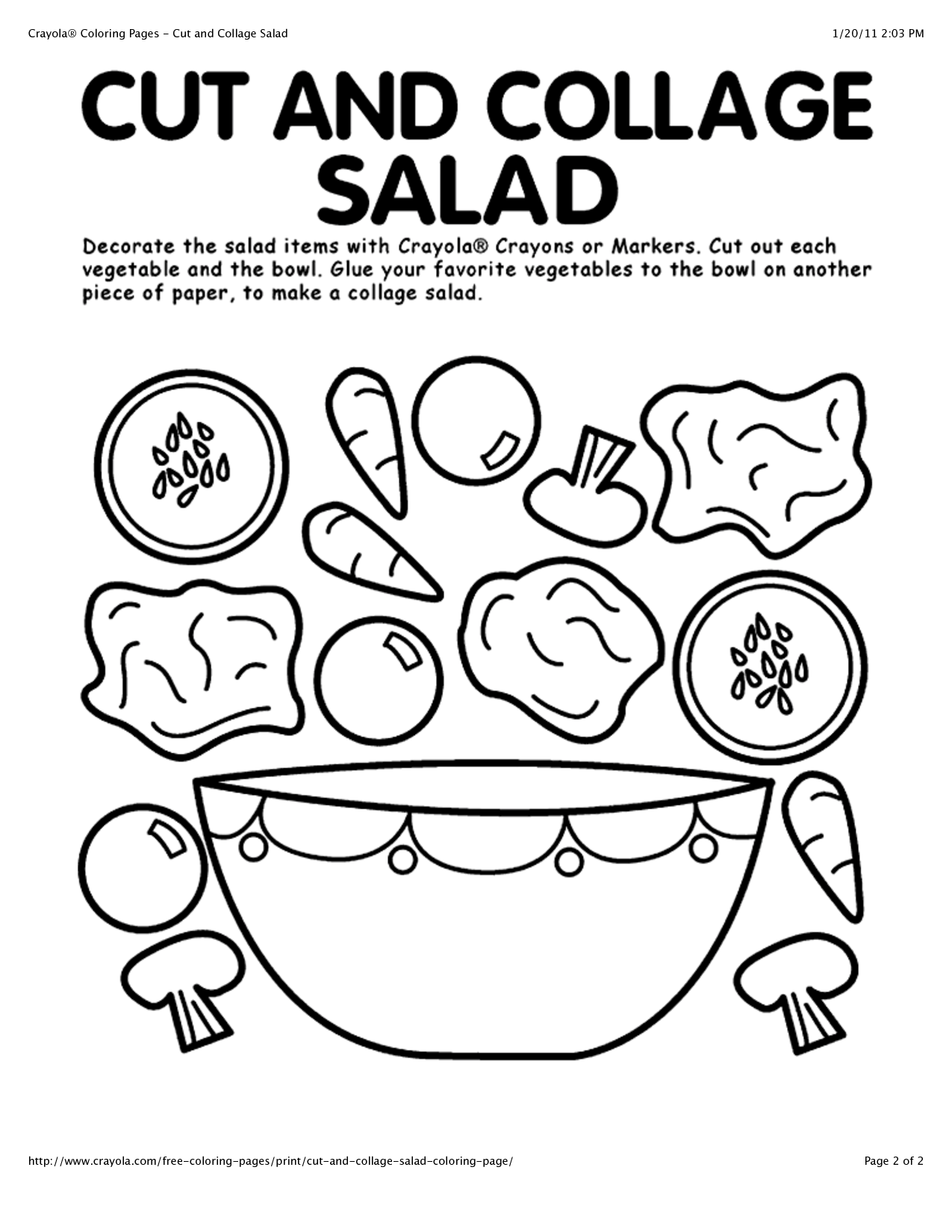 Healthy Eating Page Preschool Coloring Pages