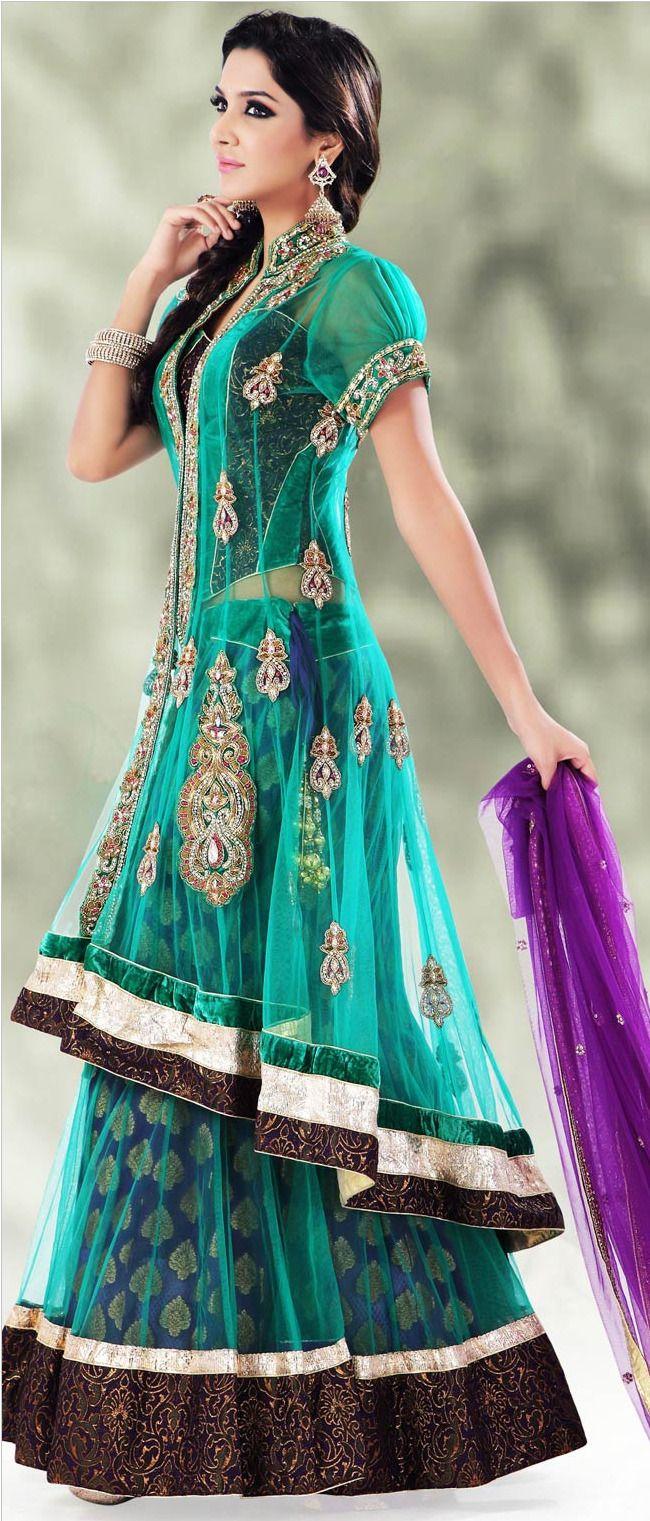 Teal Green Flare and Jacket Style Net Lehenga Choli With Dupatta